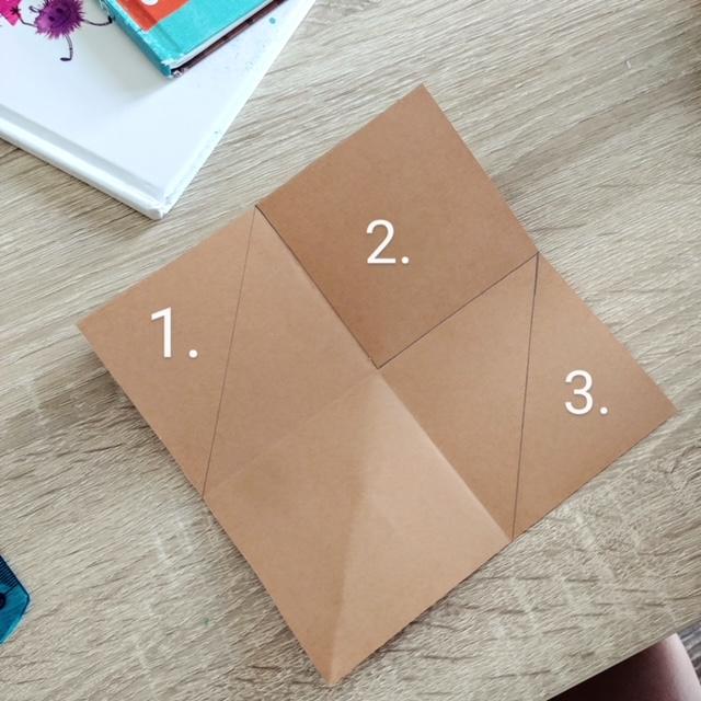 Jak zrobić prostą zakładkę do książki dla dzieci? - krok 2- Kwadrat składamy na pół. Kształt, który otrzymaliśmy ponowni składamy na pół. Następnie całość rozkładamy.