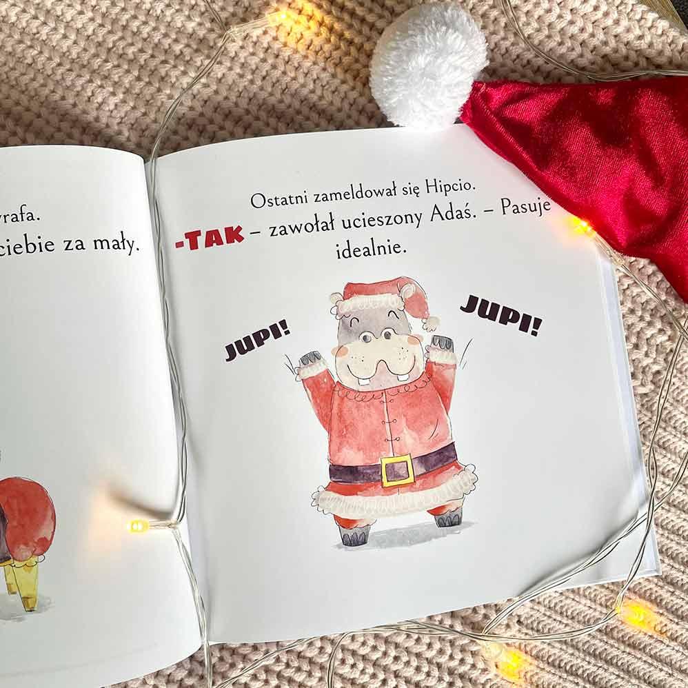 Bajka personalizowana dla dzieci - Hipopotam przebrany za świętego Mikołaja