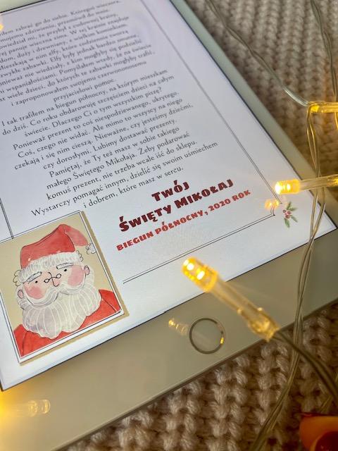 List do świętego Mikołaja stopka i zdjęcie Mikołaja