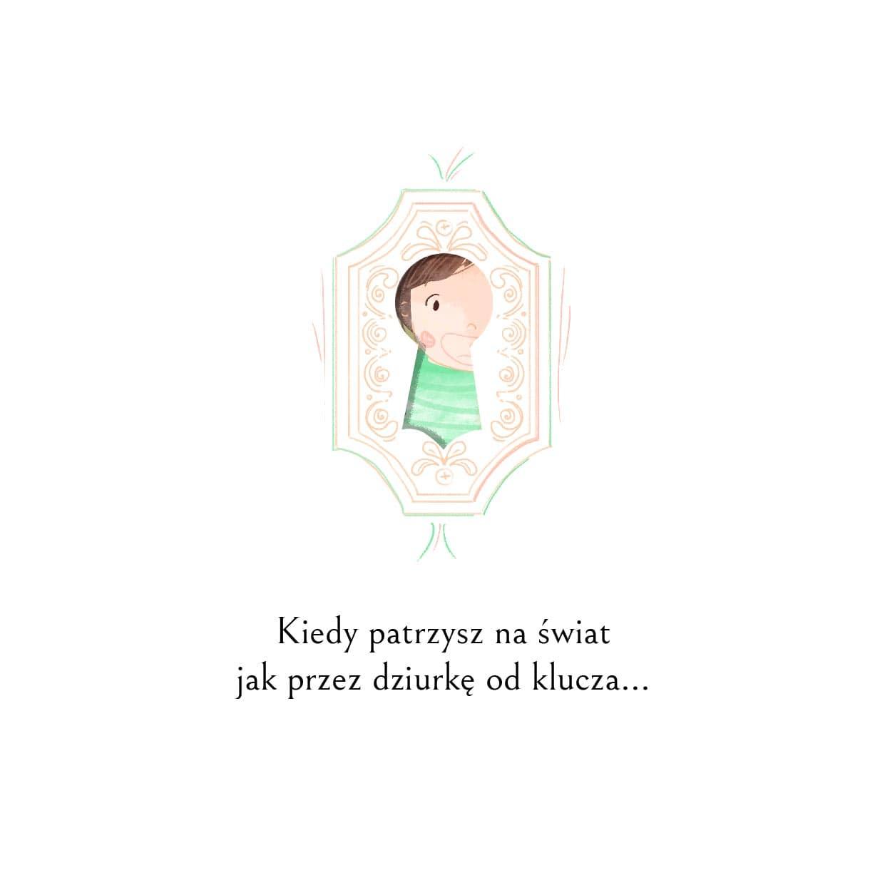 Bajka na dzień dziecka-fragment-trzeci-chłopiec patrzy przez dziurkę od klucza