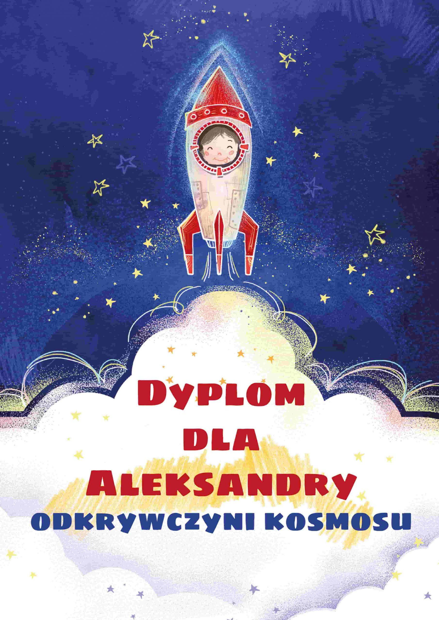 Dyplom dla dziecka, które przeczytało kosmiczny kalendarz dla dzieci