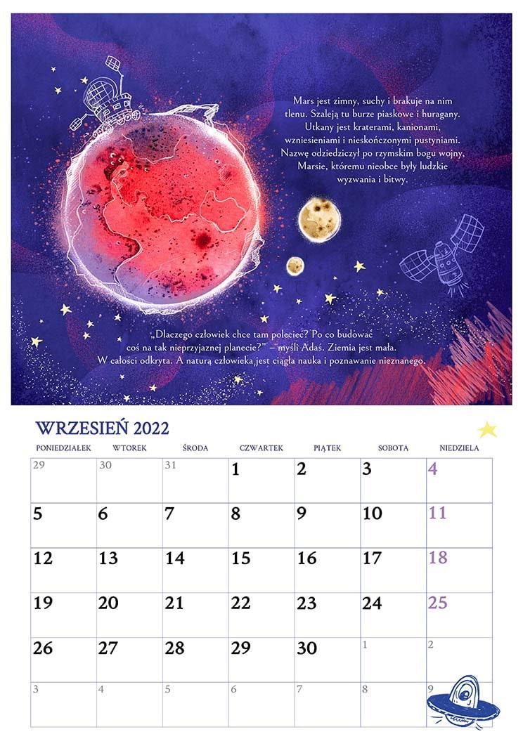 Kalendarz dla dzieci – fragment wrzesień 2022